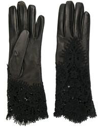 Guantes de cuero negros de Ermanno Scervino