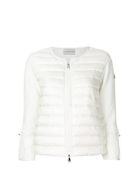 Jersey con cremallera acolchado blanco de Moncler