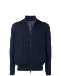 Jersey con cremallera azul marino de Corneliani