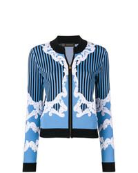Jersey con cremallera bordado azul de Versace