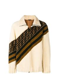 Jersey con cremallera de forro polar estampado en beige de Fendi