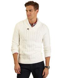 Jersey con cuello chal blanco