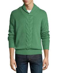 Jersey con cuello chal de punto verde