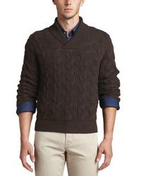Jersey con cuello chal en marrón oscuro