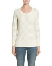 Jersey con cuello circular a cuadros blanco