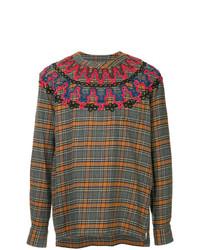 Jersey con cuello circular a cuadros en multicolor de Sacai