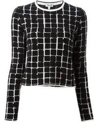Jersey con cuello circular a cuadros en negro y blanco de Kenzo