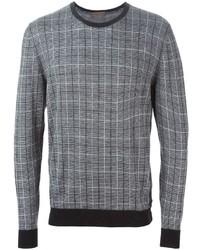 Jersey con cuello circular a cuadros gris de Etro
