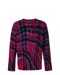 Jersey con cuello circular a cuadros morado oscuro de Just Cavalli