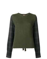 Jersey con cuello circular a cuadros verde oliva de N°21