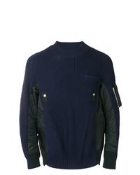 Jersey con cuello circular acolchado azul marino de Sacai