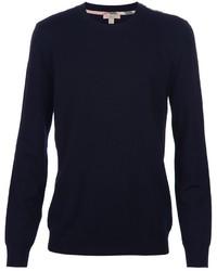 Jersey con cuello circular azul marino de Burberry