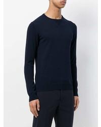 Jersey con cuello circular azul marino de Zanone