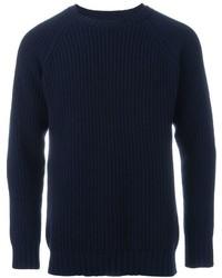 Jersey con Cuello Circular Azul Marino de E. Tautz