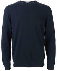 Jersey con cuello circular azul marino de Hugo Boss