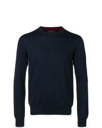 Jersey con cuello circular azul marino de Prada