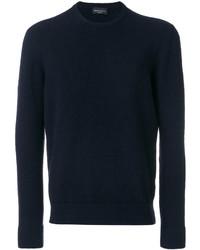 Jersey con cuello circular azul marino de Roberto Collina