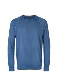 Jersey con cuello circular azul de Drumohr