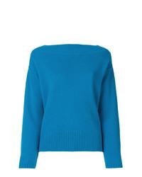 Jersey con cuello circular azul de Forte Forte
