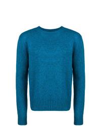 Jersey con cuello circular azul de Prada