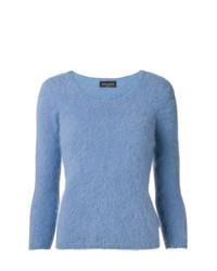 Jersey con cuello circular azul de Roberto Collina