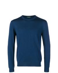 Jersey con cuello circular azul de Zanone