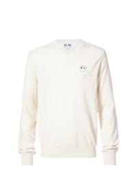 Jersey con cuello circular blanco de Comme Des Garcons Play