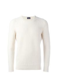 Jersey con cuello circular blanco de Drumohr