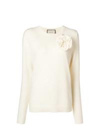 Jersey con cuello circular blanco de Gucci