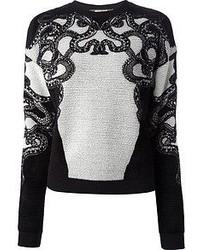 Jersey con cuello circular bordado en negro y blanco