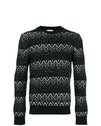 Jersey con cuello circular bordado en negro y blanco de Saint Laurent