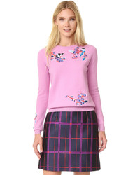 Jersey con cuello circular bordado rosado