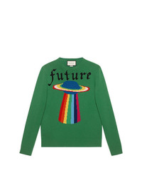 Jersey con cuello circular bordado verde de Gucci