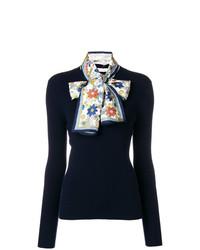 Jersey con cuello circular con adornos azul marino de Tory Burch