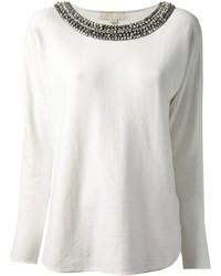 Jersey con cuello circular con adornos blanco de MICHAEL Michael Kors