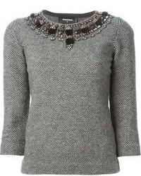 Jersey con cuello circular con adornos gris