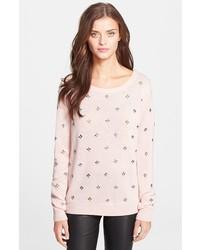 Jersey con cuello circular con adornos rosado