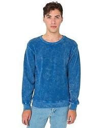 Jersey con cuello circular con lavado ácido azul