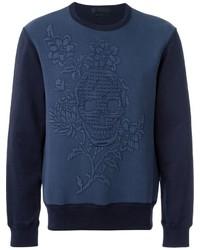 Jersey con cuello circular con print de flores azul marino