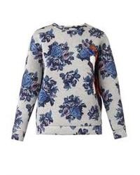 Jersey con cuello circular con print de flores en blanco y azul