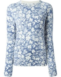 Jersey con cuello circular con print de flores en blanco y azul de Equipment