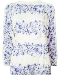 Jersey con cuello circular con print de flores en blanco y azul de Giambattista Valli