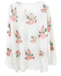 Jersey con cuello circular con print de flores en blanco y rosa