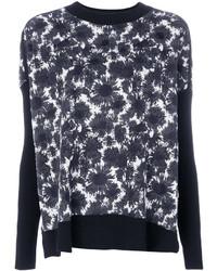 Jersey con cuello circular con print de flores en negro y blanco