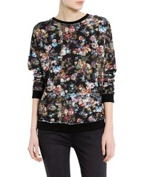 Jersey con cuello circular con print de flores negro