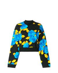 Jersey con cuello circular con print de flores negro de MSGM