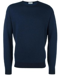 Jersey con cuello circular con relieve azul marino de John Smedley