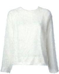 Jersey con cuello circular con relieve blanco