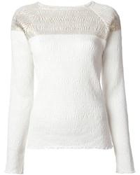 Jersey con cuello circular con relieve blanco de Suno