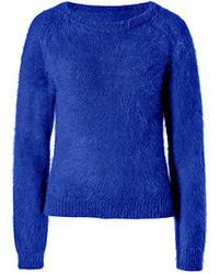 Jersey con cuello circular de angora azul